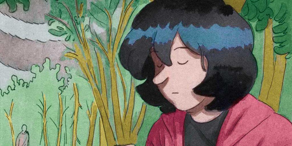 fumetti acquarelli ragazza nei boschi