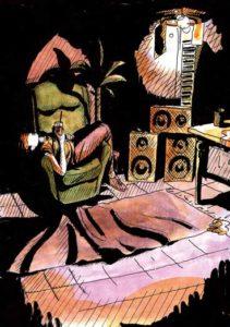 illustrazione casa festa ragazza sola